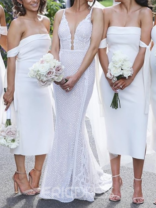 Ericdress Column Strapless Tea-Length White Bridesmaid Dress
