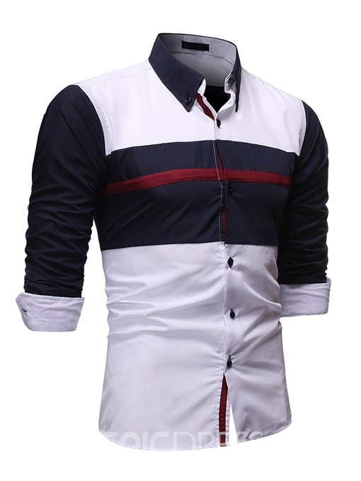 Ericdress Patchwork Lapel Casual Single-Breasted Men's Loose Shirt