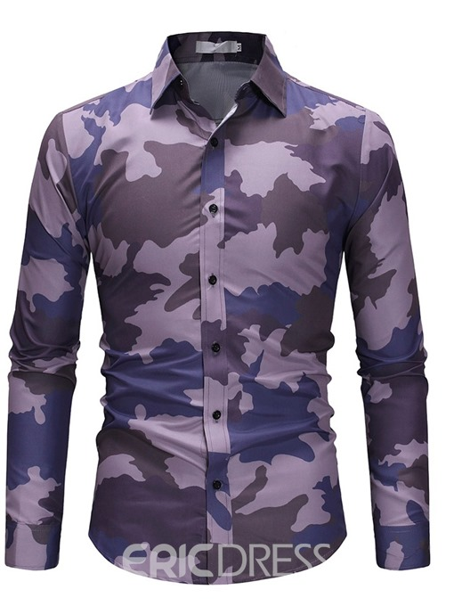 Ericdress Camouflage Casual Lapel Slim Men's Single-Breasted Shirt