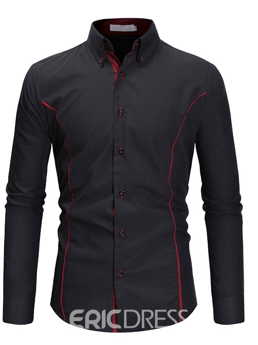 Ericdress Patchwork Lapel Color Block Single-Breasted Men's Slim Shirt