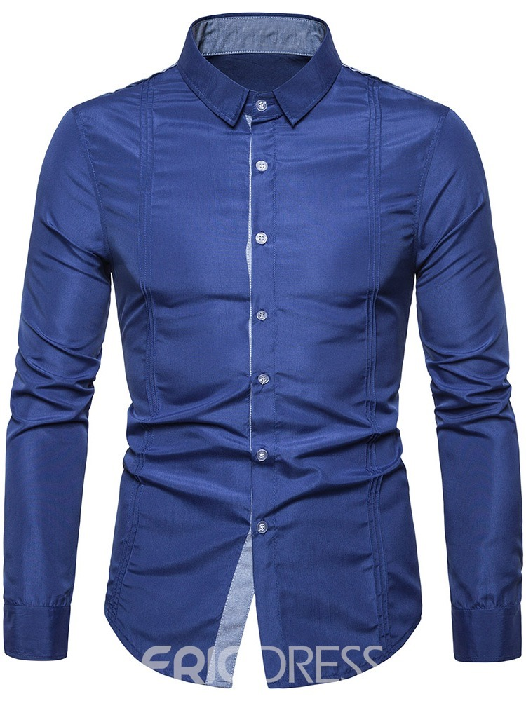 Ericdress Color Block Patchwork Lapel Single-Breasted Men's Loose Shirt