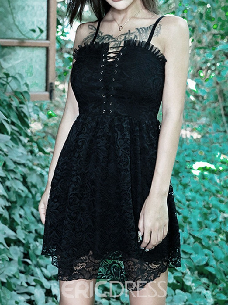 Ericdress Above Knee Lace Sleeveless Gothic Style Halloween Costume Dress