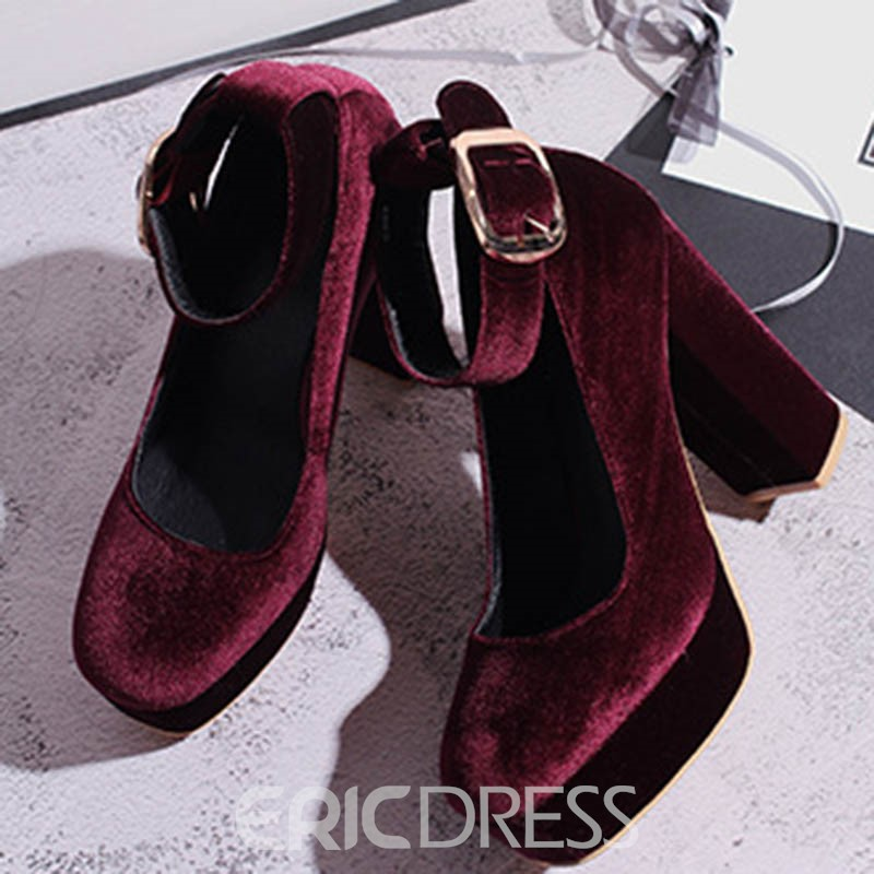 Ericdress Faux Suede Chunky Heel Round Toe Buckle Women's Pumps