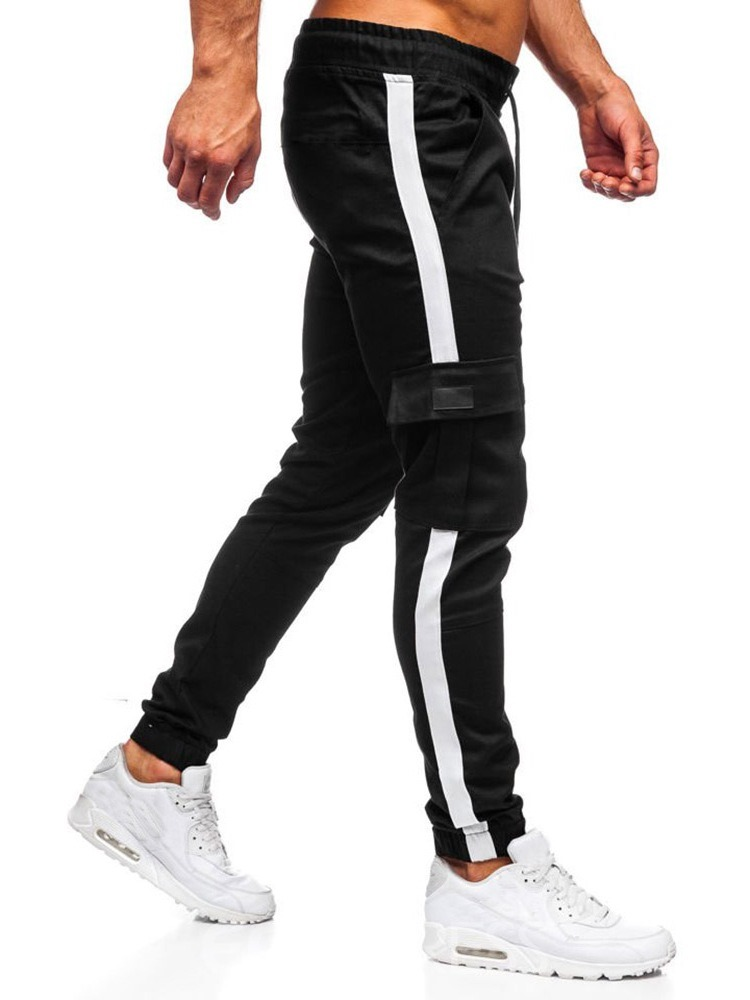 Ericdress Pocket Overall Color Block Lace-Up Men's Casual Jeans