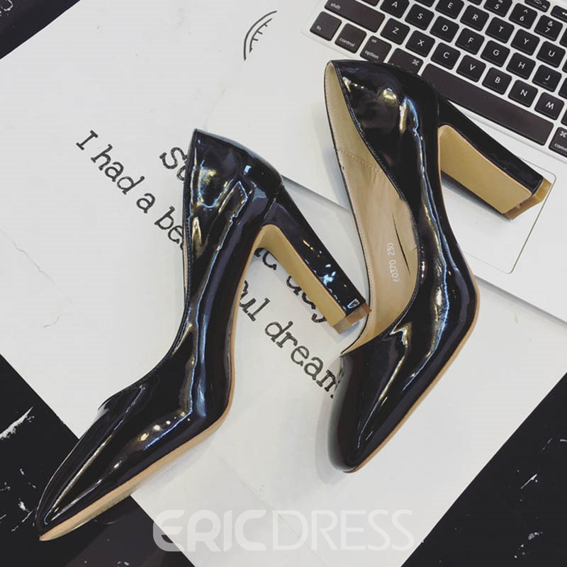 Ericdress PU Slip-On Square Toe Chunky Heel Women's Pumps