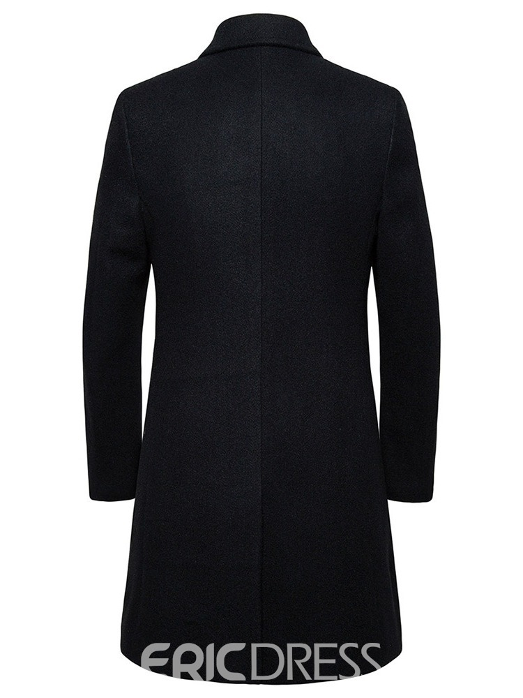 Ericdress Pocket Long Notched Lapel Single-Breasted Men's Slim Coat
