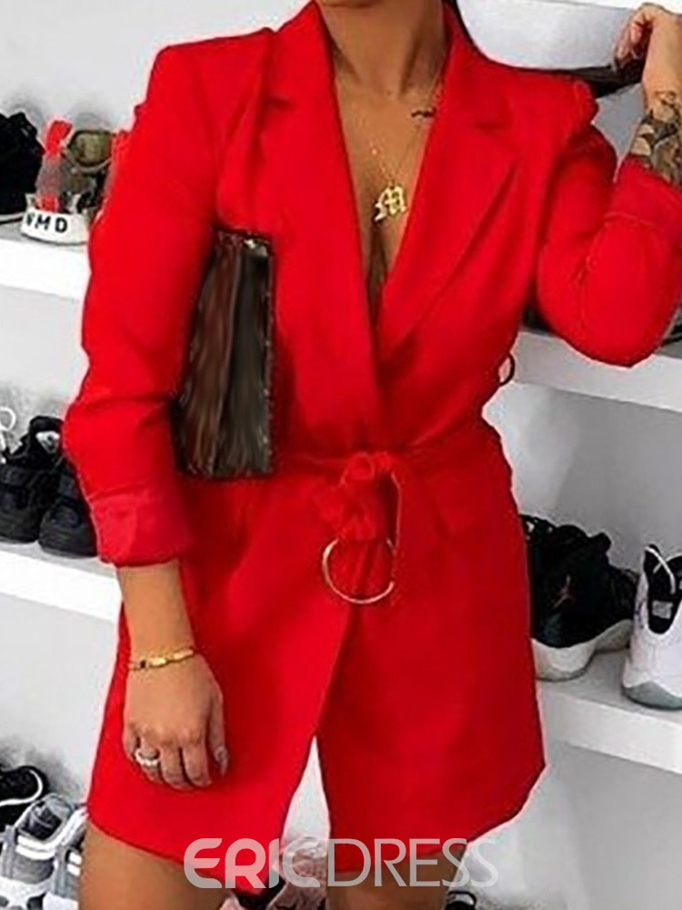 Ericdress Long Sleeve Lace-Up Notched Lapel Fall Regular Casual Blazer