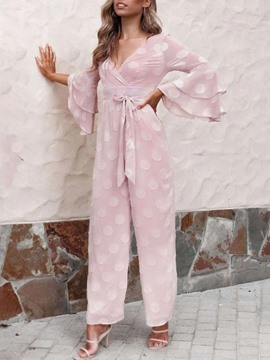 Ericdress Lace-Up Ruffles Plain Full Length Loose Wide Legs Jumpsuit