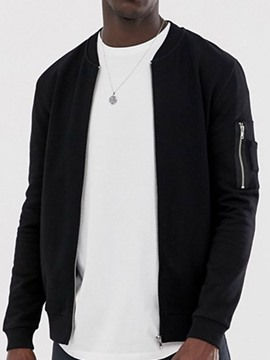 Ericdress Plain Stand Collar Zipper Men's Loose Jacket