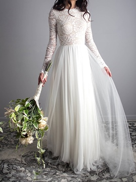 Ericdress Lace Scoop A-Line Long Sleeves Wedding Dress 2019