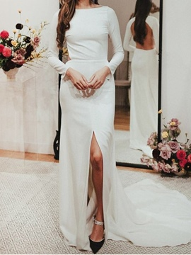 Ericdress Split-Front Backless Long Sleeves Wedding Dress