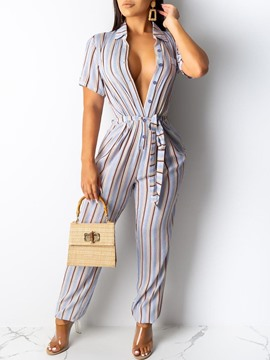 ericdress jumpsuit slim de rayas occidentales de cuerpo entero