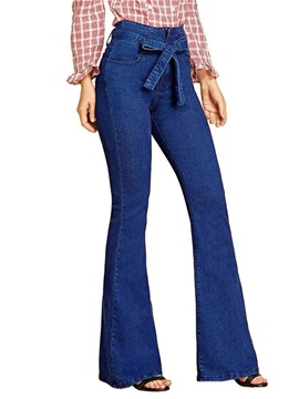 Ericdress Lace-Up Bellbottoms Plain Zipper Slim Jeans