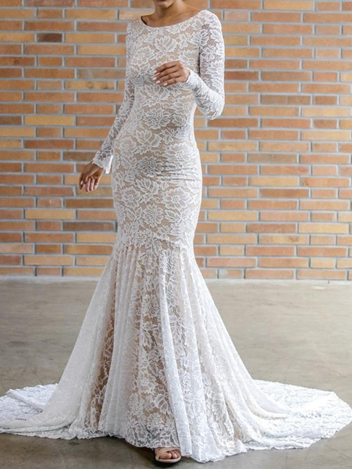 Ericdress Lace Long Sleeves Low Back Wedding Dress 2019