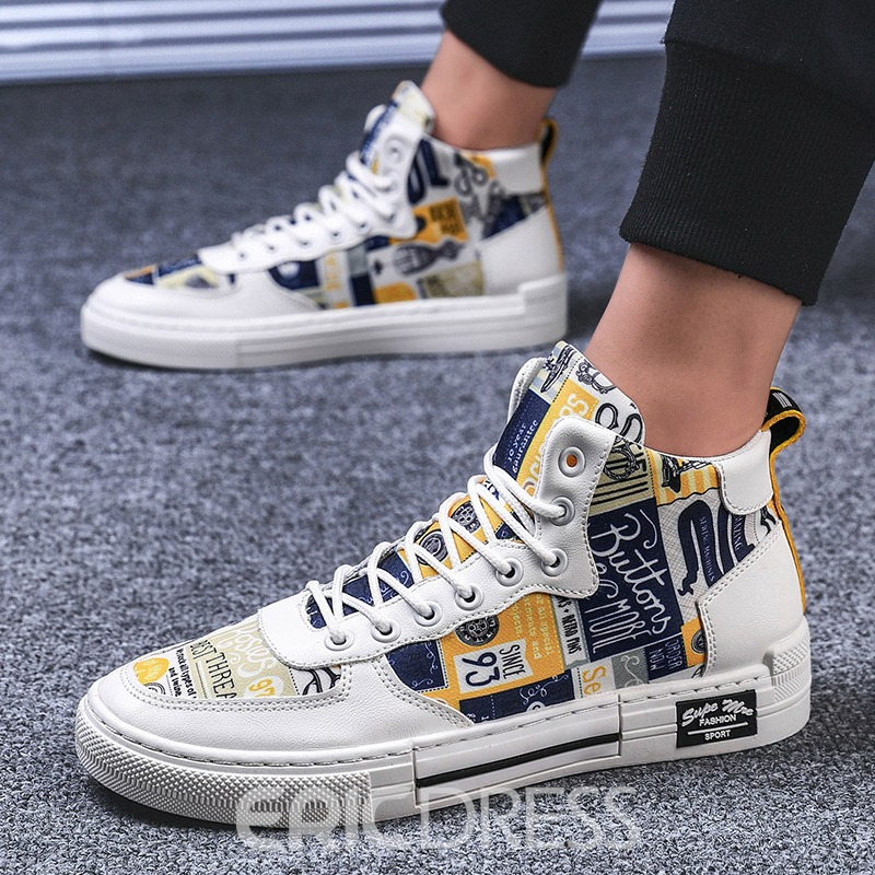 Ericdress Canvas High-Cut Upper Letter Lace-Up Round Toe Men's Skate Shoes
