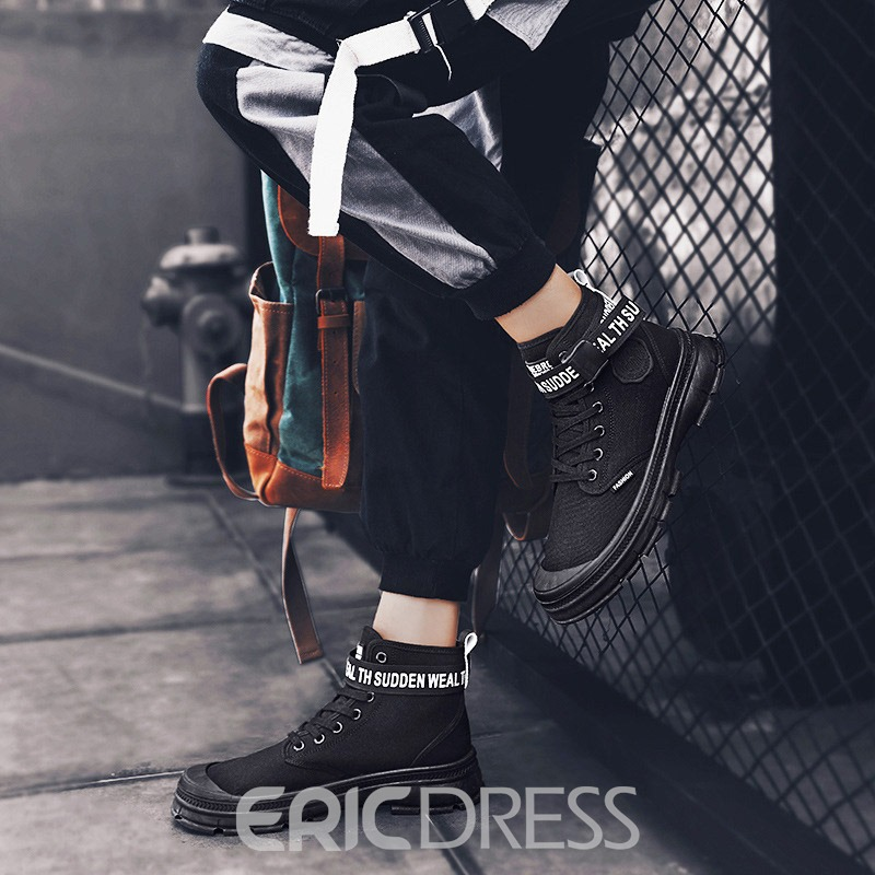 Ericdress Canvas Round Toe Letter Lace-Up Front Men's Boots