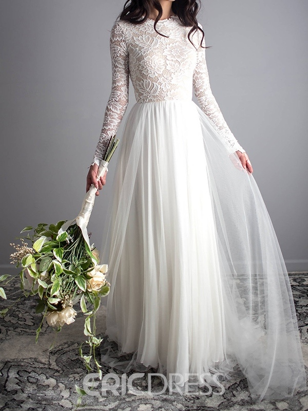 Ericdress Lace Scoop A-Line Long Sleeves Wedding Dress