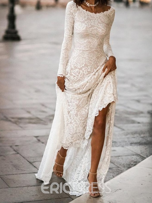 Ericdress Lace Scoop Long Sleeves Sheath Wedding Dress