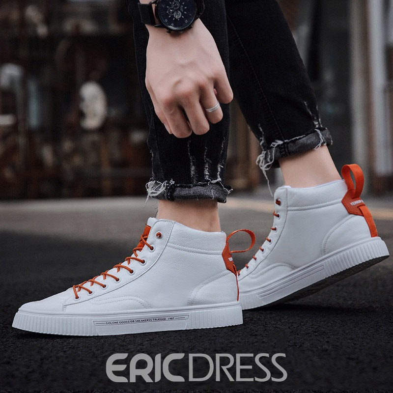 Ericdress PU Color Block Lace-Up Round Toe Skate Shoes For Men