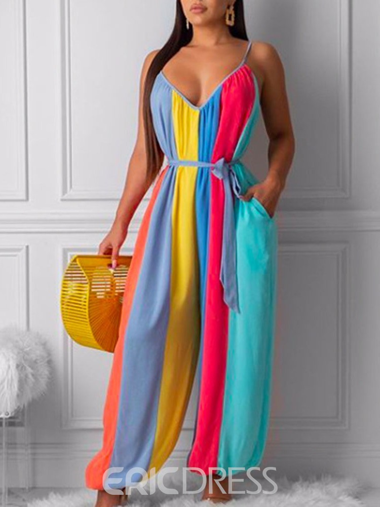 Ericdress Pocket Lace-Up Strap Full Length Color Block Loose Jumpsuit