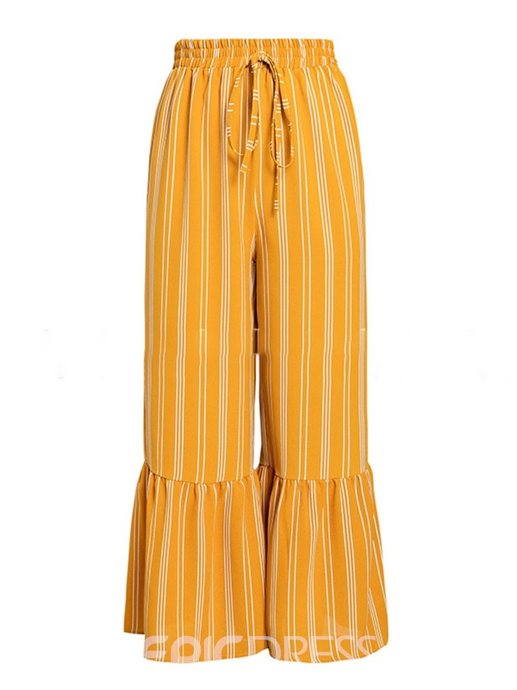 Ericdress Stripe Loose Print Full Length Wide Legs Casual Pants