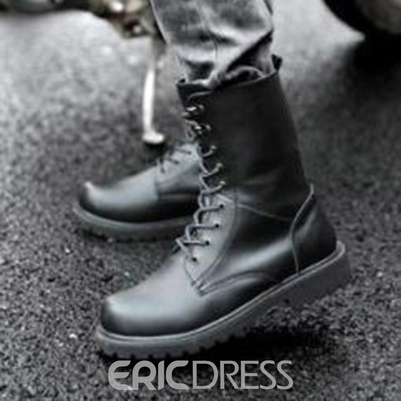 Ericdress Round Toe Plain Lace-Up Front PU Men's Martin Boots