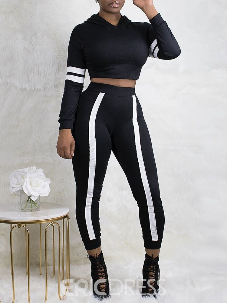 Ericdress Color Block Mid-Calf Hooded Pullover Two Piece Sets