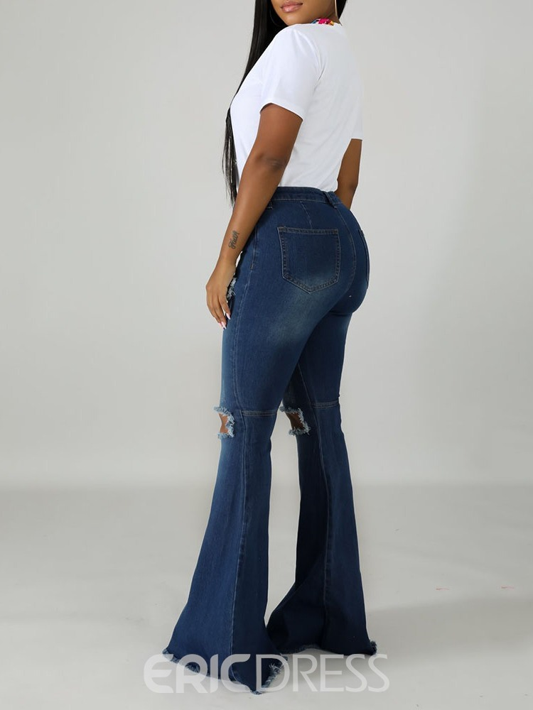 Ericdress Hole Bellbottoms Zipper Slim Jeans