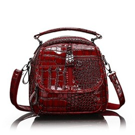 Ericdress Alligator PU FlapPocket Backpacks