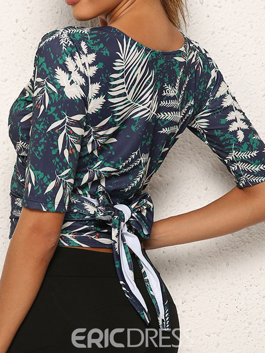 Ericdress Floral Polyester Quick Dry Print Short Sleeve Female Tops