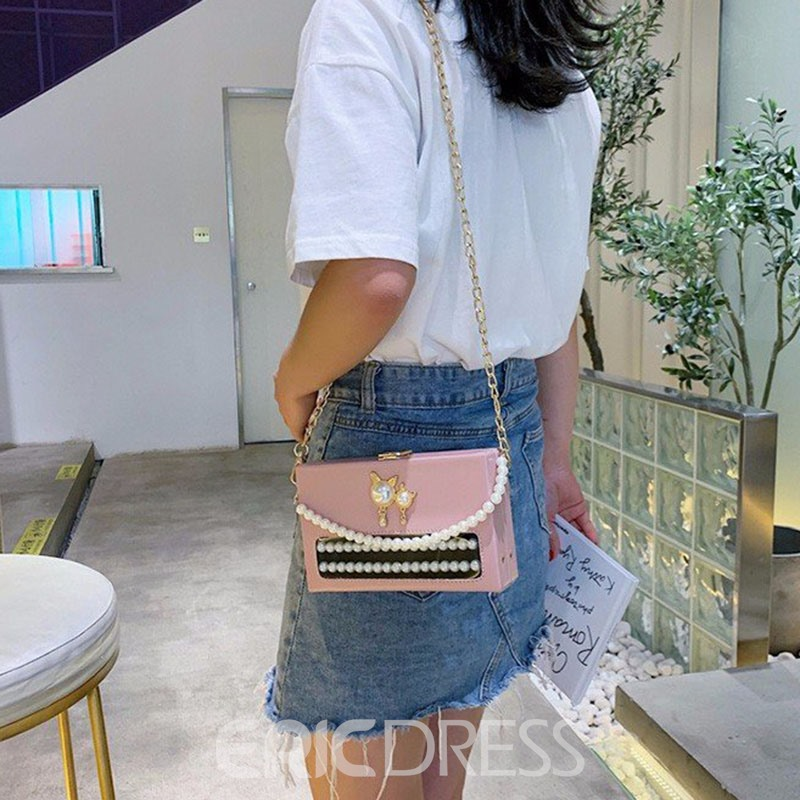 Ericdress PU Beads Flap Crossbody Bags
