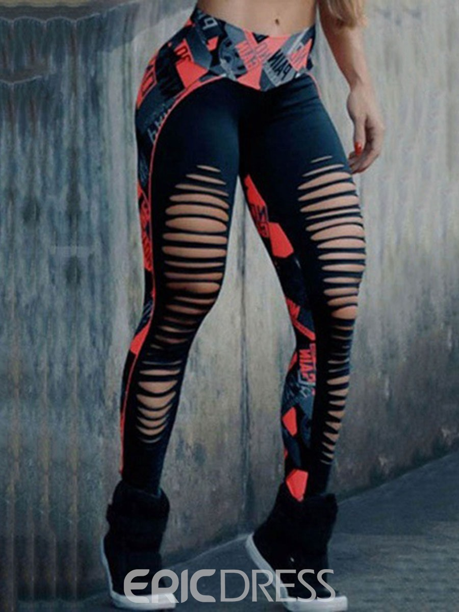 Ericdress Polyester Color Block Print Breathable Female Ankle Length Pants