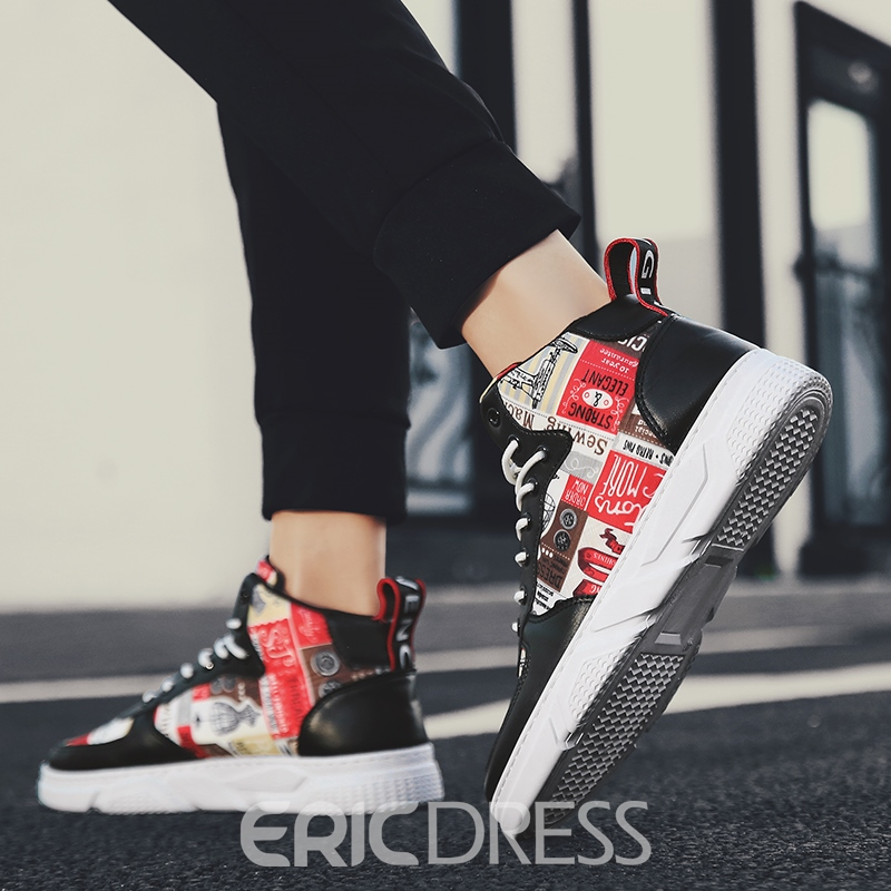 Ericdress Patchwork Lace-Up High-Cut Upper Round Toe Men's Skate Shoes