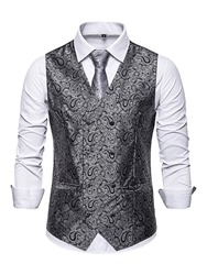 Ericdress V-Neck Print Color Block Mens Double-Breasted Waistcoat фото