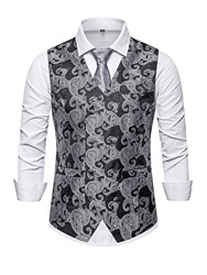 Ericdress Color Block Button V-Neck Fashion Mens Single-Breasted Waistcoat фото