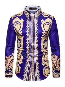 Ericdress African Fashion Dashiki Lapel Button Men's Slim Shirt