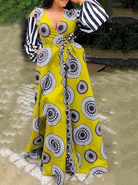 Ericdress African Fashion Floor-Length Patchwork V-Neck Pocket High Waist Dress