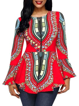 Ericdress African Fashion Geometric Flare Sleeve Mid-Length Zipper Blouse