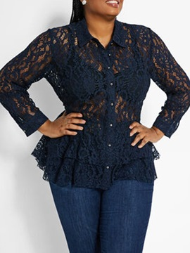 Ericdress Plus Size See-Through Regular Lapel Ruffled Nine Points Sleeve Blouse