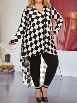 Ericdress Plus Size Swallowtail Color Block V-Neck Long Sleeve Blouse