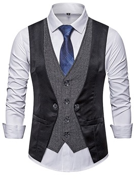 Ericdress Color Block V-Neck Patchwork Men's Fashion Waistcoat