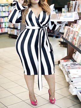 Ericdress Plus Size Striped Flare Sleeve Mid-Calf V-Neck Bodycon Dress