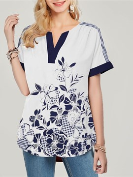 Ericdress Plant Print V-Neck Mid-Length Short Sleeve Blouse
