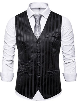 Ericdress V-Neck Print Color Block Men's Single-Breasted Waistcoat