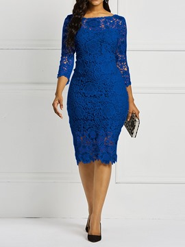 Ericdress Lace Hollow Blue OL Mid-Calf Plain Bodycon Dress