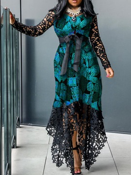 Ericdress Lace Floor-Length Hollow Patchwork High Waist Asymmetrical African Fashion Dress