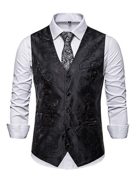 Ericdress V-Neck Color Block Button Men's Fashion Waistcoat