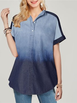 Ericdress Button Gradient V-Neck Short Sleeve Mid-Length Blouse