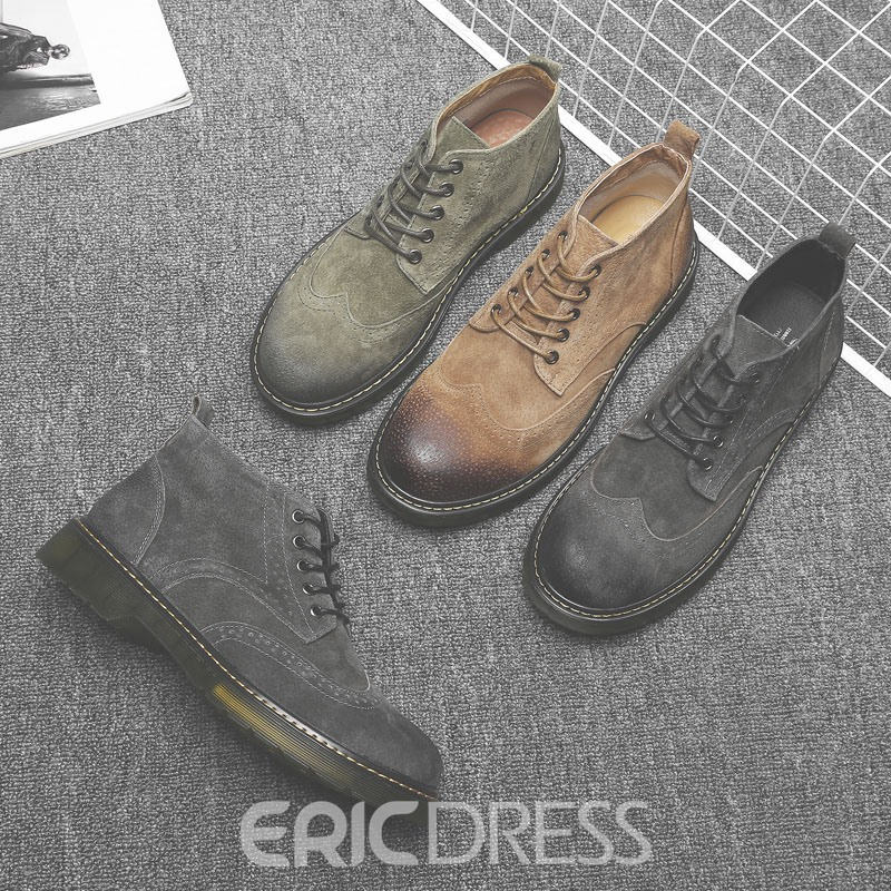 Ericdress PU Lace-Up Front Round Toe Men's Martin Boots