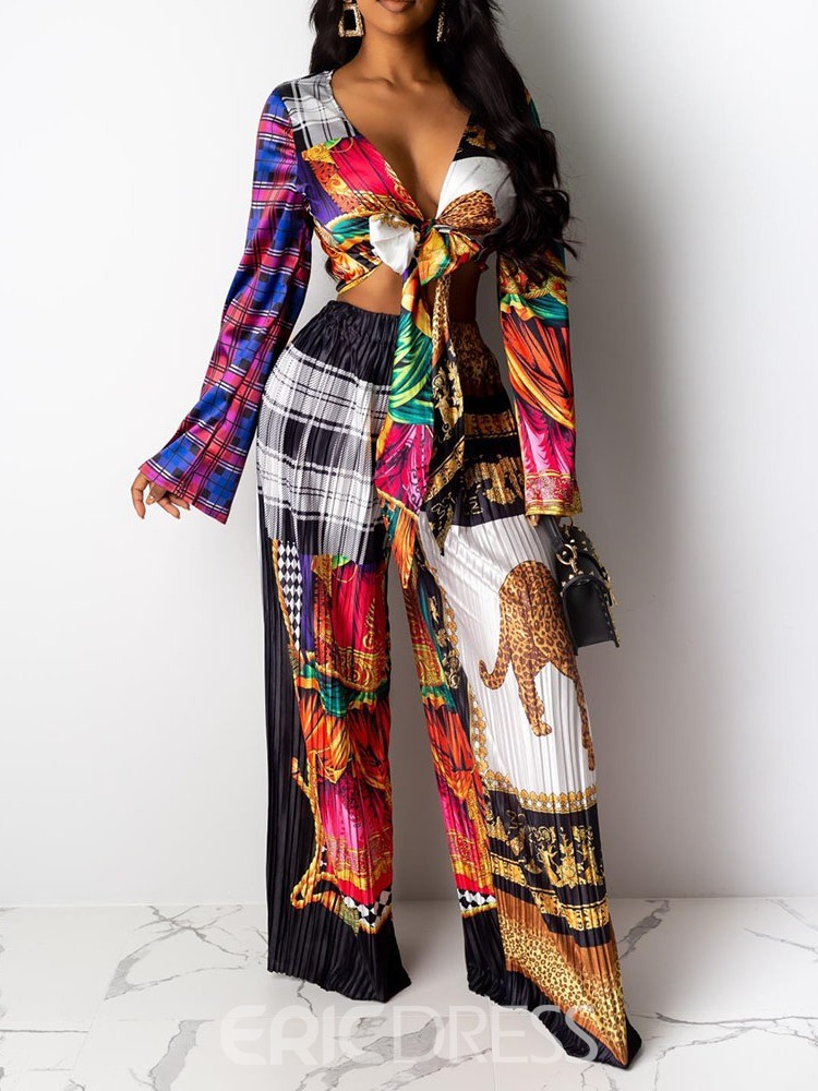 Ericdress African Fashion Dashiki Print Pullover Wide Legs Two Piece Sets